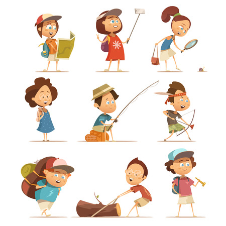 Camping kids cartoon icons set with equipment isolated vector illustration.