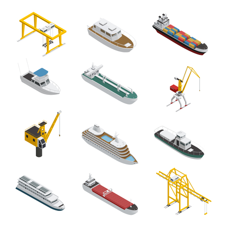 Sea and river vessel isometric icons set with motorboat barge tanker and port cargo equipment vector illustration.
