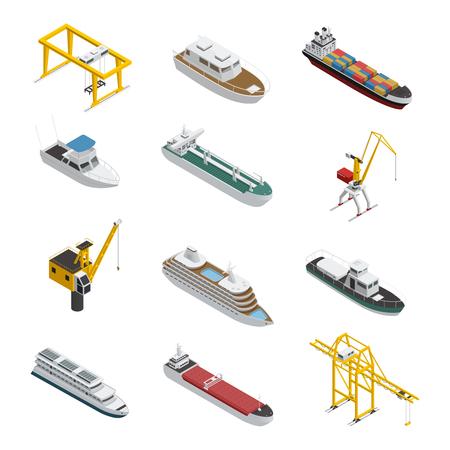 Los iconos isométricos del mar y del recipiente del río fijaron con el buque cisterna de la lancha a motor y el ejemplo del vector del equipo del cargo del puerto. Ilustración de vector