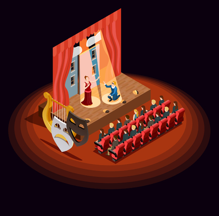Theatre composition of isometric audience hall with stage during dramatic performance with human characters and masks vector illustration.