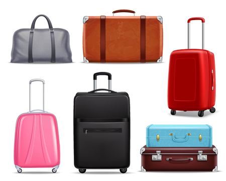 Business and family vacation travel luggage with handbag baggage modern and retro items collection realistic vector illustration.