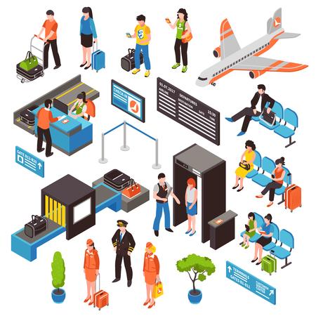 L'area del waitig dei portoni di controllo di sicurezza di registrazione dei passeggeri dell'aeroporto e la raccolta isometrica delle icone dell'aeroplano hanno isolato l'illustrazione di vettore. Vettoriali