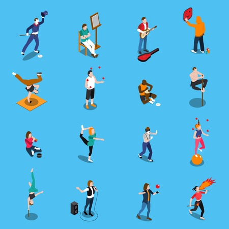 Street artists isometric set with musicians, painter, acrobats, graffiti, dancer, pantomime on blue background isolated vector illustration.