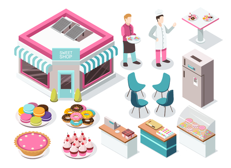 Sweet shop isometric set with macaroons, donuts, cupcakes, pie, baker and waiter, interior elements isolated vector illustration.