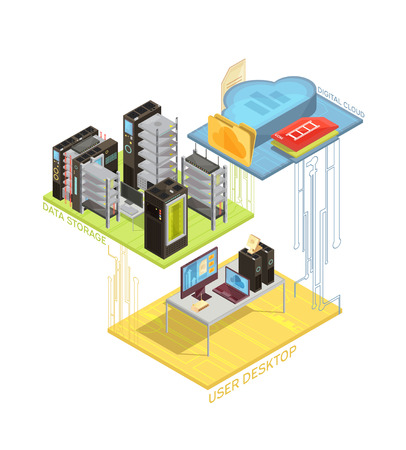 Isometric infographics with user workstation, digital cloud and servers for data storage on white background vector illustration.