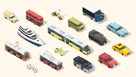 Transport isometric set of isolated urban transportation vehicles tramway cars trolley buses and two-wheel transport with shadows vector illustration.