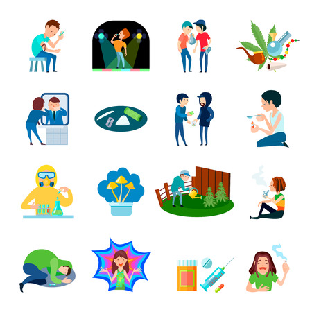 Narcotic substance illegal production and use isolated compositions set with cartoon people characters and drug images vector illustration. 向量圖像