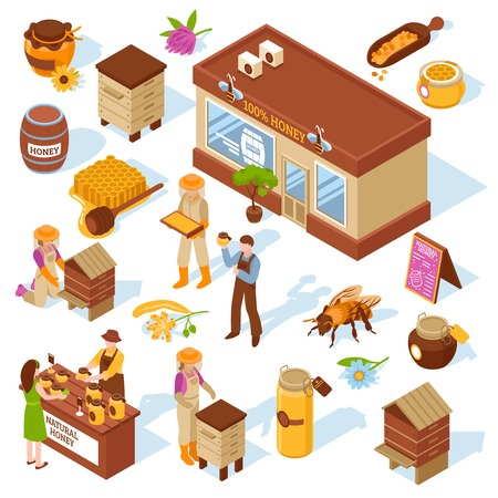 Honey garden apiary farm production and sale isometric icons collection with beehive honeycomb bee isolated vector illustration.