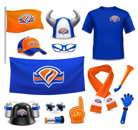 National sport team supporters realistic accessories collection in royal dutch colors with hat flag scarf vector illustration. 向量圖像