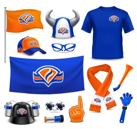 Nationale sport supporters realistische accessoires collectie in koninklijke Nederlandse kleuren met hoed vlag vector illustratie.