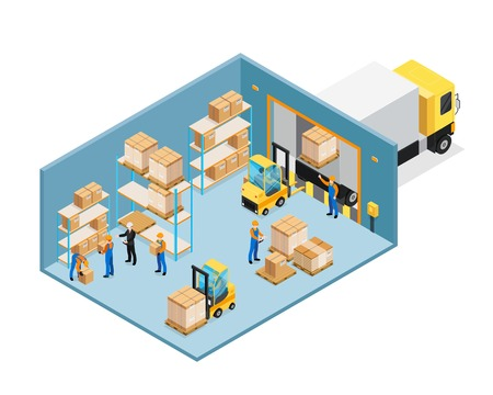 Warehouse inside isometric composition including manager and workers, forklifts, shelves with goods, unloading cargo vector illustration.