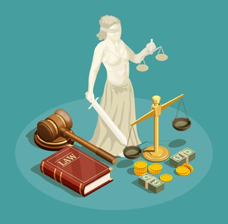 El concepto de diseño isométrico con la estatua de themis otros símbolos de la ley y la justicia y el dinero 3d vector el ejemplo.