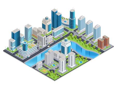 近代都市景観スカイライン建物通り川と公園ゾーンのベクトル図と等尺性組成物。  イラスト・ベクター素材