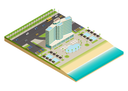 Luxury hotel building on sandy shores of ocean isometric composition with swimming pool and beach equipment vector illustration.