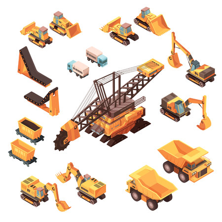 Isometric mining set of isolated machinery images with orange trucks bulldozers lorries excavators and various equipment vector illustration.