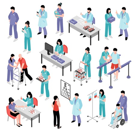 Docters physicians nurses physiotherapist and laboratory assistent attending patients in hospital isometric icons collection isolated vector illustration