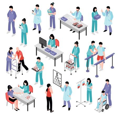 Rzte der Doktors pflegen den Physiotherapeuten und den Laborassistenten, die an der isometrischen Ikonensammlung des Krankenhauses teilnehmen, lokalisierten Vektorillustration Standard-Bild - 83426565