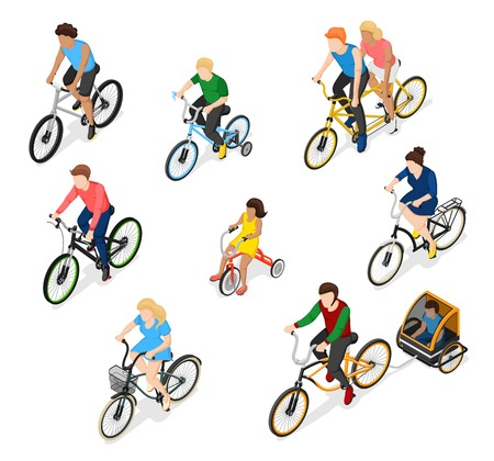 racing sign: Bicycle isometric people set of isolated bike rider faceless human characters of different age and gender vector illustration. Illustration