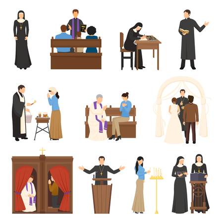 フラットなデザインの宗教的な文字教皇修道女司祭聖職者牧師の分離白背景ベクトル イラスト入り  イラスト・ベクター素材