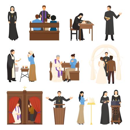 I caratteri religiosi di progettazione piana hanno messo con il reverendo del sacerdote del sacerdote della suora del papa isolato sull'illustrazione bianca di vettore del fondo