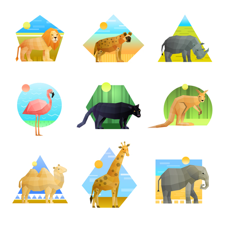 Polygonal set of patterned emblem of different shape with african animals and birds isolated on white background vector illustration 向量圖像