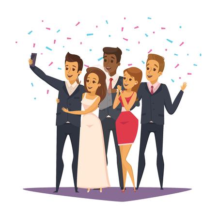 Selfie photo composition with people and celebration symbols flat vector illustration Illustration