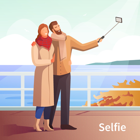 Dating selfie photo modern people lifestyle composition with lovers couple going for a walk near river vector illustration