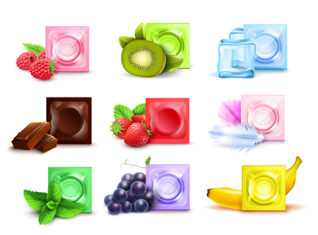 Realistic set of scented condoms in colorful packages with fresh fruit mint chocolate isolated on white background vector illustration