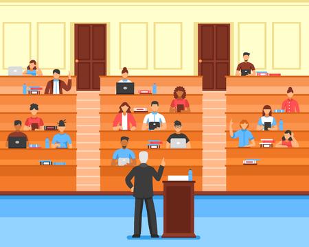 De vlak gekleurde samenstelling van de publiekconferentiezaal met studenten en leraar bij universitaire vectorillustratie