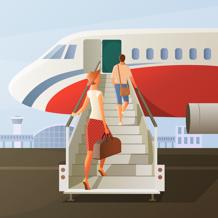 Boarding in airplane composition with man and woman in hat with hand luggage on ladder vector illustration