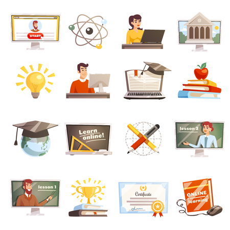 Online learning flat colored icons set with teachers and students participating in web seminars isolated vector illustration Illustration