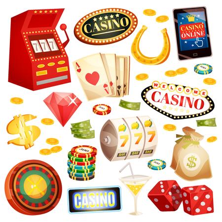 Casino decorative icons set with horseshoe money roulette cards chips jackpot dice isometric elements isolated vector illustration