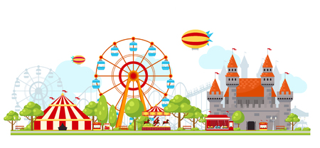 Colored amusement park composition with entertainment for children ferris wheel and castles vector illustration Illustration