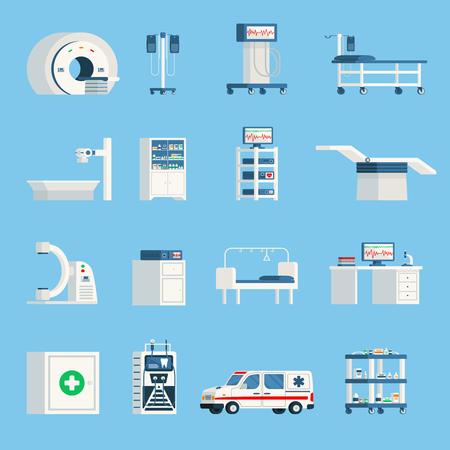 Krankenhaus Ausrüstung orthogonal flache Symbole Satz von High-Tech-Geräte für die Chirurgie und Prüfung der Patienten isoliert Vektor-Illustration