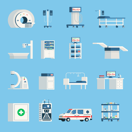 Hospital equipment orthogonal flat icons set of high-tech devices for surgery and examination of patient isolated vector illustration Illustration