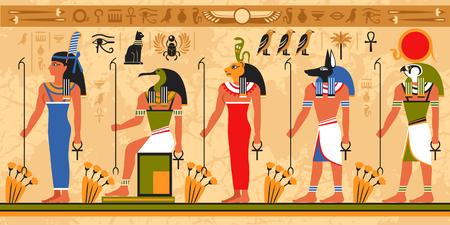 Modello di bordo colorato su tema egitto con divinità egizia egiziana e simboli occulti illustrazione vettoriale piatto