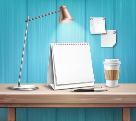 Blank table calendar lamp pen and cup on wooden desk on blue wall background 3d vector illustration