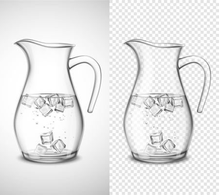 Glaskrug mit Wasser Eiswürfeln und Blasen auf weißem und transparentem Hintergrund lokalisierte Vektorillustration
