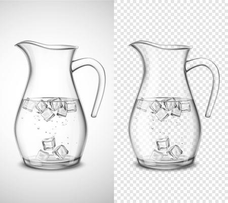 Jarra de vidrio con cubos de hielo y burbujas sobre fondo blanco y transparente aislado ilustración vectorial