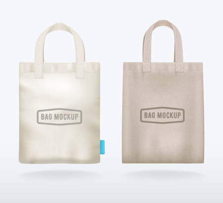 Two modern natural canvas mockup shopping bags realistic templates for sale promotion corporate identity demonstration vector illustration