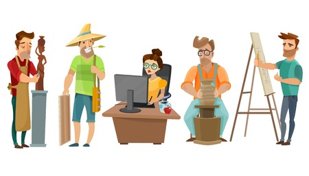 Creative freelance people at work in studio with artist sculptor journalist and potter cartoon images set vector illustration Ilustração