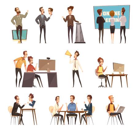 Online die vergaderingspictogrammen met laptop en mensenbeeldverhaal geïsoleerde vectorillustratie worden geplaatst Stock Illustratie