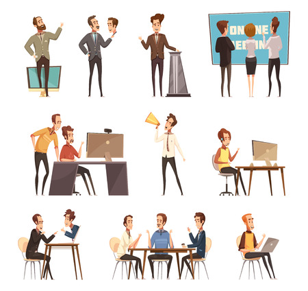 Online meeting icons set with laptop and people cartoon isolated vector illustration