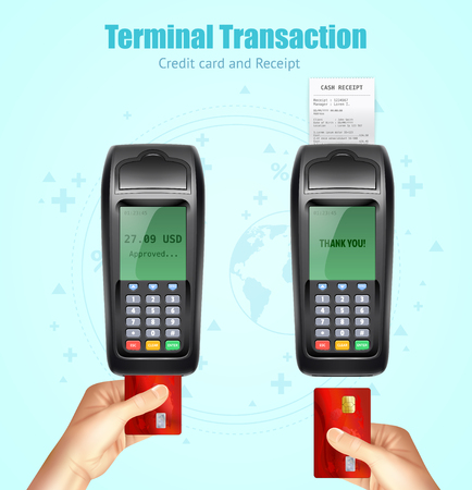 Credit bank card reader transaction payment moment with receipt coming from device realistic images set vector illustration Illustration