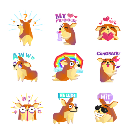 Funny corgi dog cartoon character icons collection with question rainbow love and congrats message isolated vector illustration Illustration