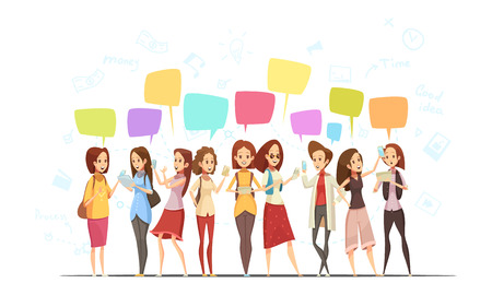 woman laptop: Teenagers girls characters communication online retro cartoon  poster with money symbols and chat messages bubbles vector illustration Illustration