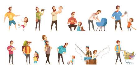 Compras de paternidade de criação de crianças jogando andando pesca com ícones de desenhos animados retrô de crianças 2 banners definir ilustração vetorial isolado Foto de archivo - 83426601