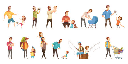 Fatherhood child-rearing shopping playing walking fishing with kids retro cartoon icons 2 banners set  isolated vector illustration Illustration
