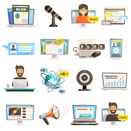 Blogger set of sixteen isolated conceptual images representing vlog recording internet social activity and media outreach vector illustration