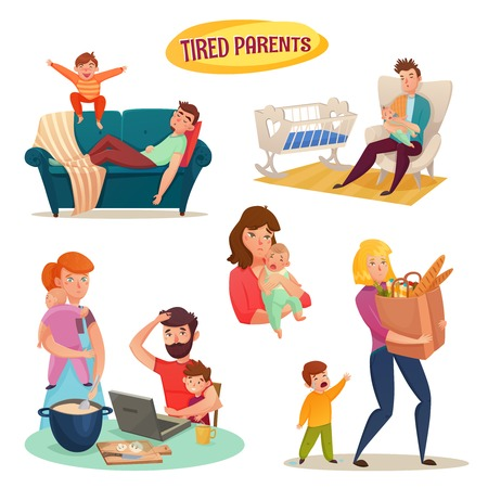 Tired parents isolated decorative elements with mother and father holding baby in arms flat cartoon vector illustration